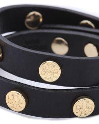 Tory Burch Double Wrap Logo Bracelet - Black - Lyst