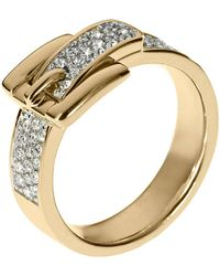 Michael Kors - Goldtone Clear Pave Buckle Ring - Lyst