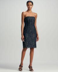 Aidan Mattox Strapless Lace Cocktail Dress - Lyst