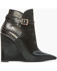 Burberry Prorsum - Black Studded Calf_hair Woodley Boots - Lyst