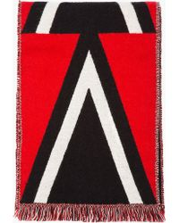 Burberry Prorsum - Red and Black Triangle Pattern Woven Scarf - Lyst