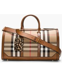 Burberry Prorsum Tan Leather_trimmed House Check Duffle Bag - Lyst