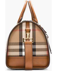 Burberry Prorsum - Tan Leopard Print Calf hair House Check Duffle Bag - Lyst 8a6b048d90557