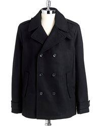 Calvin Klein Black Woolblend Peacoat - Lyst