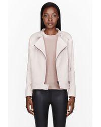 J Brand Pink Pebbled Leather Dorothy Jacket - Lyst