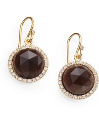 Mija - Smoky Topaz & White Sapphire Button Drop Earrings - Lyst