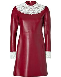 Valentino Leather Dress with Lace Bib red - Lyst