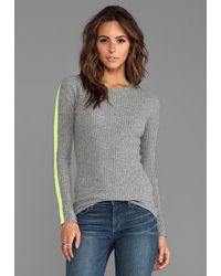 Autumn Cashmere Ribbed Crew with Athletic Racing Stripes in Gray - Lyst