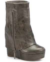 Alice + Olivia Yeardley Molten Leather Wedge Boots - Lyst