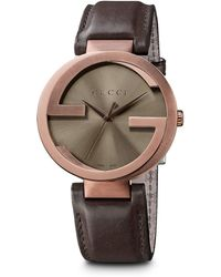Gucci Interlocking Brown Pvd And Leather Strap Watch - Lyst