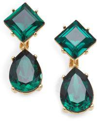 Kenneth Jay Lane Emeraldcolored Faceted Drop Earrings green - Lyst