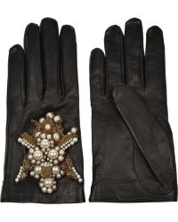 Alexander McQueen - Embellished Leather Gloves - Lyst