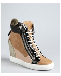 Giuseppe Zanotti Khaki Suede Leather Detailed Laceup Hidden Wedge Hightop Sneakers - Lyst