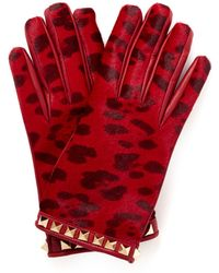 Valentino Rockstud Leopard Leather Gloves red - Lyst