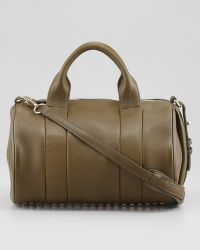 Alexander Wang Rocco Studbottom Satchel Bag Oliveyellow Golden - Lyst