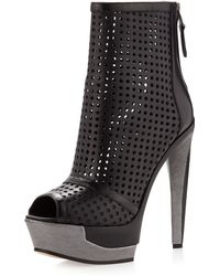 B Brian Atwood Perforated Platform Ankle Boot Black - Lyst
