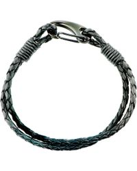 Black.co.uk - Woven Black Leather And Steel Bracelet - Lyst