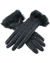 Black.co.uk Ladies' Cashmere And Leather Gloves With Rabbit Fur Cuff - Lyst