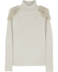Matthew Williamson | Rabbit Trimmed Turtleneck Chunky Knit Sweater | Lyst