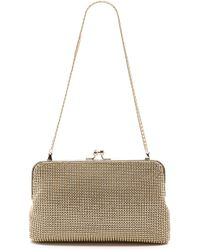 Whiting & Davis Dimple Mesh Clutch - Gold - Lyst