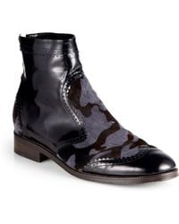 Christopher Kane Camo Patent Leather Calf Hair Ankle Boots - Lyst