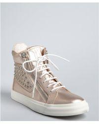 Giuseppe Zanotti Pink Metallic Leather Studded Zip Hightop Sneakers - Lyst