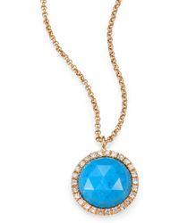 Mija - Turquoise White Sapphire Pendant Necklace - Lyst