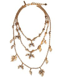 Oscar de la Renta Leaf Link Multirow Necklace - Lyst