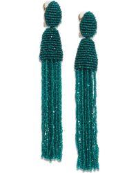 Oscar de la Renta Long Beaded Tassel Clip-On Earrings - Lyst