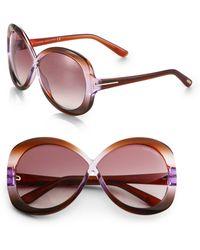 Tom Ford - Margot Plastic Oversized Round Crossover Sunglasses - Lyst
