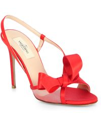 Valentino Couture Satin Bow Sandals red - Lyst