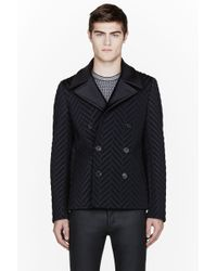 CALVIN KLEIN 205W39NYC - Black Quilted Chevron Beechwood Peacoat - Lyst