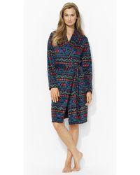 Lauren by Ralph Lauren - Nordic Print Fleece Robe - Lyst