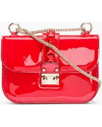Valentino Red Patent Leather Studded Punkouture Shoulder Bag - Lyst