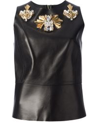 Fausto Puglisi Leather Top black - Lyst