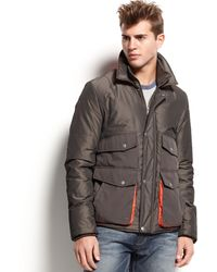 Guess Jacket Waterproof Zipfront Orangetrim - Lyst