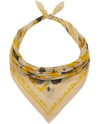 Manipuri - Yellow Leaves On Checks Print Scarf - Lyst