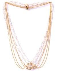 Melanie Georgacopoulos - White Diamond Pearl Losange Necklace - Lyst