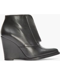 Surface To Air - Black Leather Zip Wedge Boots - Lyst