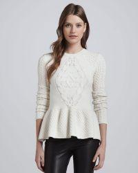 Torn By Ronny Kobo - Layla Mixedknit Peplum Sweater - Lyst
