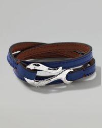Ippolita - Mens Pelle Sterlinghook Leather 3wrap Bracelet in Blue - Lyst