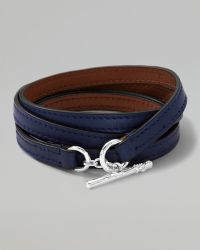 Ippolita - Pelle Sterlingtoggle Leather 4wrap Bracelet in Blue Size 3 - Lyst