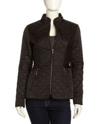 Laundry by Shelli Segal - Lightweight Quilted Jacket Black - Lyst