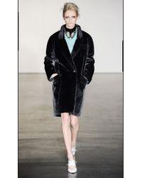 Antipodium - Facade Faux Fur Coat in Charcoal Grey  - Lyst