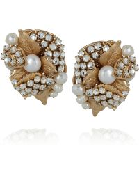 Bijoux Heart | Goldplated Swarovski Crystal and Pearl Clip Earrings | Lyst