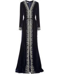 Oscar de la Renta Embellished Velvet Gown - Lyst