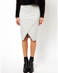 Asos Pencil Skirt in Sweat with Wrap Detail - Lyst
