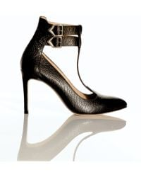 Atalanta Weller - Suki Double Ankle Strap Black Pumps By - Lyst