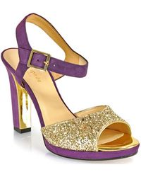 Kate Spade Fuse Suede and Glitter Sandal - Lyst