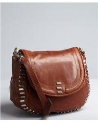 Kelsi Dagger Brooklyn - Cognac Distressed Leather Stud Detail Harley Crossbody Saddle Bag - Lyst